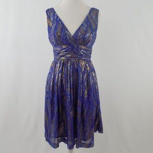 Trina Turk Silk and Metallic Dress